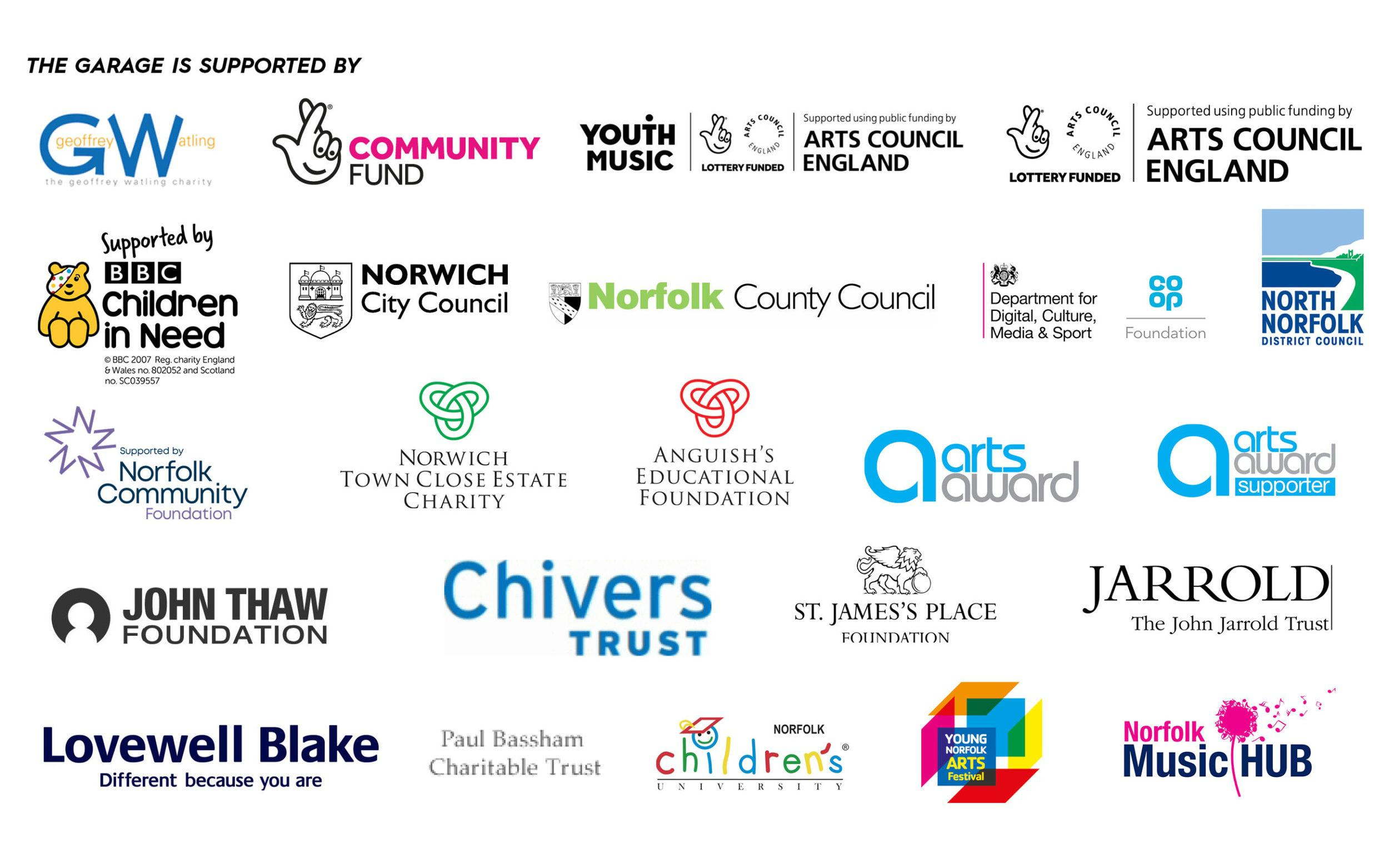 Image of funders/supporters of The Garage