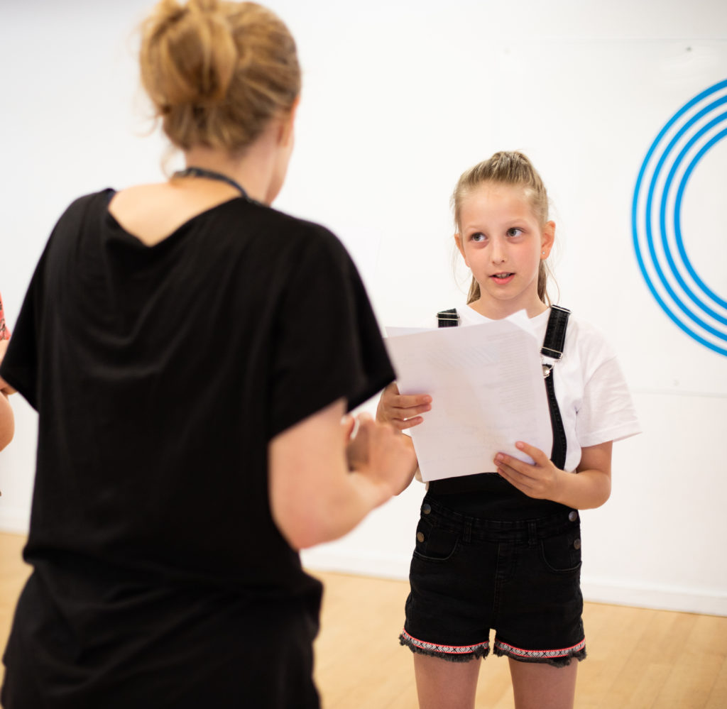 Tutor and student in Musical Theatre class
